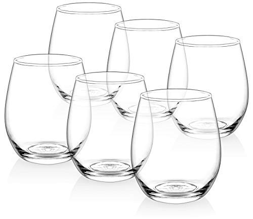 [Set of 6] Zuzoro Stemless Wine Glasses - 15oz - Decorative Long-lasting & Durable Wine Glass Set - For White or Red Wine - Great Holiday Gift for Wine Lovers (For Or Are Wine Stemless Glasses White Red)