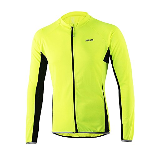 ARSUXEO Outdoor Sports Men's Slim Fit Cycling Jersey Long Sleeves Bike Bicycle MTB Shirts 6022 Green Size X-Large