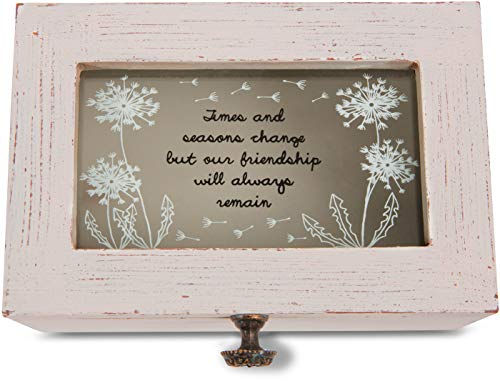 Pavilion Gift Company 77119 Dandelion Wishes - Times & Seasons Change but Our Friendship Will Always Remain Vintage Style Jewelry Box with Glass (Willow Tree Keepsake Boxes)
