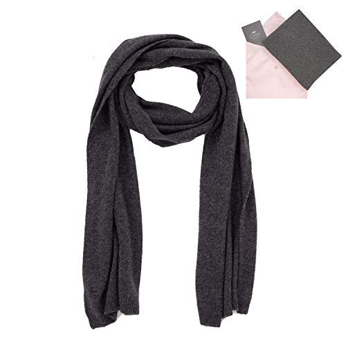 Cashmere Scarf for Women - 100% Pure Luxury Knit - Lightweight, Ultra Soft, Warm - Beautiful Silk Keepsake Gift Bag (Dark Charcoal Gray)