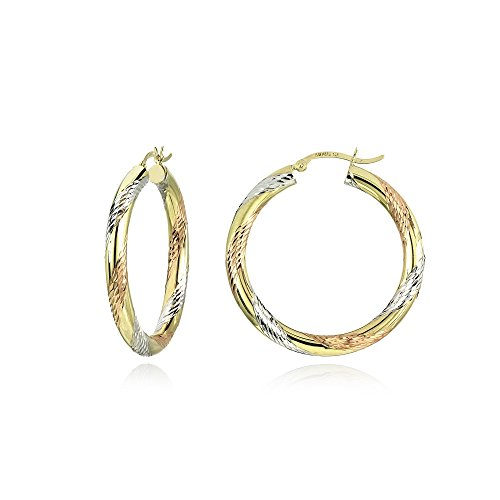 14K Gold Tri Color Polished & Diamond-Cut 4x32mm Lightweight Medium Round Hoop Earrings by Hoops & Loops
