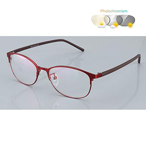 - Eyetary Bifocal Reading Glasses with Transition Photochromic, Clear Flat Lens Oval Metal Frame Sunglasses Outdoor Sun Readers- UV400 /Anti Glare/Magnification 1.00 to 3.00 Strength,Red,+2.0