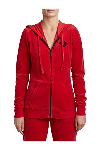 True Religion Women's Velour Zip Hoodie, Ruby red, - Hoody True Religion Women