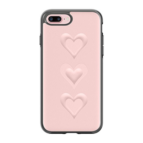 (Rebecca Minkoff Luxe Double Up Case for iPhone 7 Plus - Embossed Hearts Soft Blush Pebble Leather)