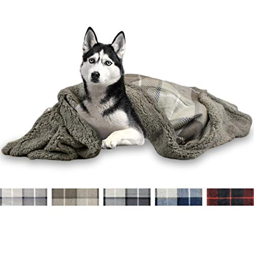 PetAmi Deluxe Dog Blanket for Large Dogs | Sherpa Fleece Pet Throw Blanket for Couch Sofa Bed | Soft Durable Reversible Furniture Protector for Medium Dog Cat Puppy – 60×40 Plaid Taupe
