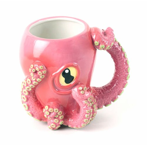 Pink Octopus Ceramic Coffee Mug with Tentacle Handle 3