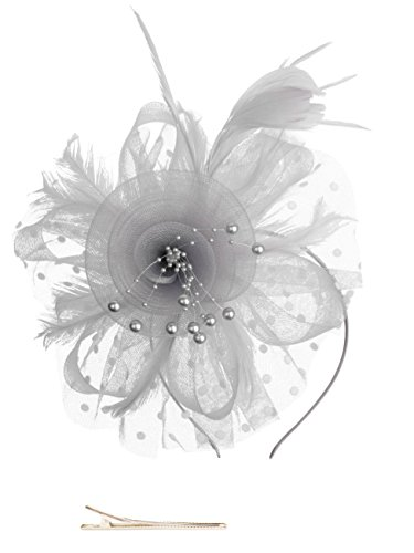 Fascinators Hat for Women Tea Party Headband Kentucky Derby Wedding Cocktail Flower Mesh Feathers Hair Clip (1-Grey) -