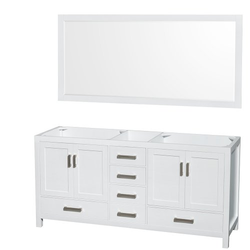 Genial Wyndham Collection Sheffield 72 Inch Double Bathroom Vanity In White, No  Countertop, No Sinks, And 70 Inch Mirror