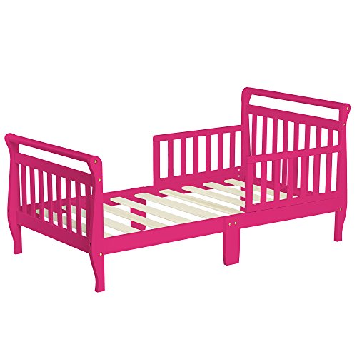 Dream On Me Sleigh Toddler Bed, Fuschia Pink, 24 (Girls Sleigh Bed)