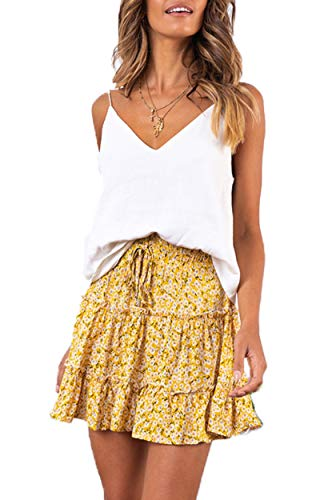 (SimpleFun Womens Yellow Floral Short Skirts Casual Ruffle Aline Mini Skirts)