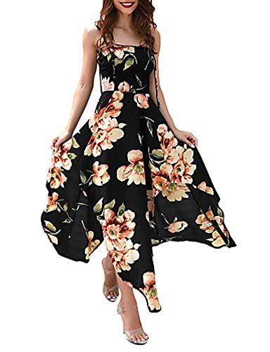 Mujer Swing Maxi Black S Escote Vestido Corte JIZHI Cuadrado danxEq6dw