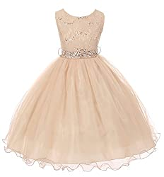 Girls' Sequin Lace with Tulle Flower