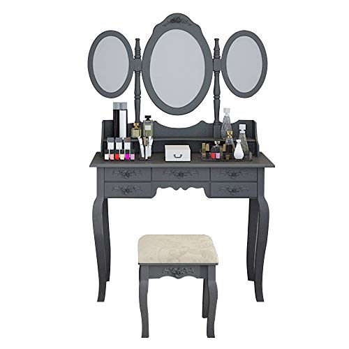 Cheap huisenus Black Makeup Dressing Table Set for Girls Modern Vanity Table with 7 Drawers and Tri-Foldable Mirror and Bench for Bedroom Living Room Gift for Kids (Black)
