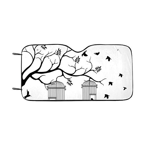 Apartment Decor Durable Car Sunshade,Modern Romantic Themed Decor Birds Cages Branches Leaves Art Print for car,55