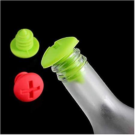 Duyifan Tapón de Silicona para Botella de Vino,10 Tapones de Vino,Forma de Tornillo Creativo Vino Blanco y Vino Extranjero tapón de Botella de Silicona de Mantenimiento Fresco