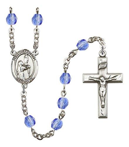 September Birth Month Prayer Bead Rosary with Saint Bernadette Centerpiece, 19 Inch