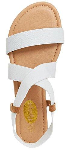 Floopi Womens Summer Flat Sandals Open Toe Elastic Ankle Strap Gladiator Sandal (8, White-501) by Floopi (Image #3)