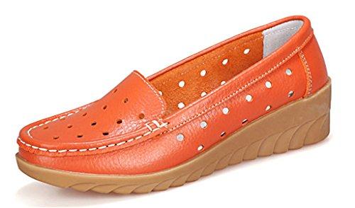 NEWZCERS - Mocasines de Piel para mujer naranja