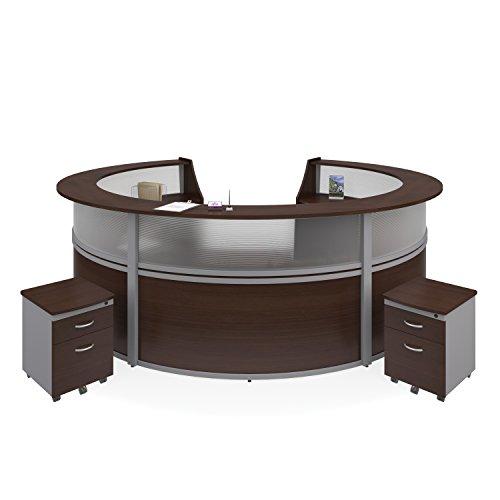 OFM Marque Plexi 5-Unit Reception Station - Office Furniture Receptionist/Secretary Desk with Two Walnut Pedestals (PKG-55316-WALNUT)