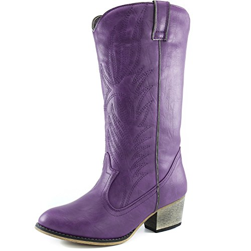 DailyShoes Women's Embroidered Legend Western Cowboy Knee High Boot with Side Pocket, 9