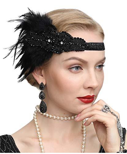 Cizoe Women's Vintage Feather 20S Headpiece 1920S Flapper Headband Roaring,Black from Cizoe