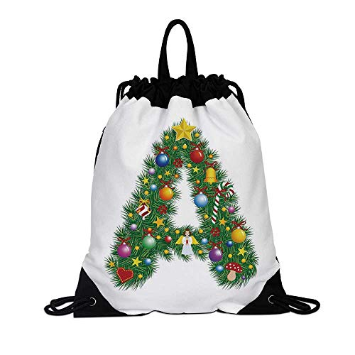 Letter A Canvas Drawstring Bag,Tree Star from Winter Celebrations Praying Angel Mini Stars Letter A Font Concept Decorative for Travel School,7.4