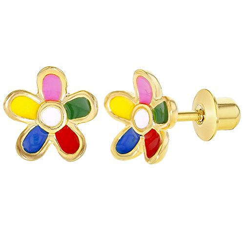 18k Gold Plated Multicolor Enamel Flower Screw Back Earrings Toddlers Girls 8mm