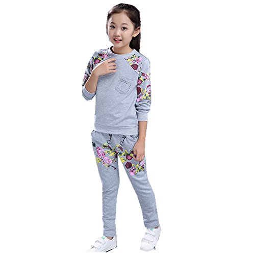 FTSUCQ Girls Sports Tracksuits Floral Printed Sweatershirt Coat + Pants,Gray - Indian Serial Sites