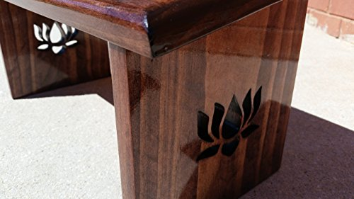 Cheap Hand Crafted Red Mahogany Stain Meditation Bench with Lotus Flower Legs.