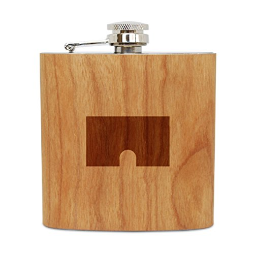 OMPANY Cherry Wood Flask With Stainless Steel Body - Laser Engraved Flask With Boy Shorts Design - 6 Oz Wood Hip Flask Handmade In USA ()