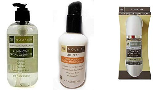 Antioxidant Facial Serum Nourish, Oil Free Face Moisturizer and All in One Cleanser, Trader Joe's Face Care Bundle Variety Pack - Organic and Natural Ingredients - For Oily and Dry Skin