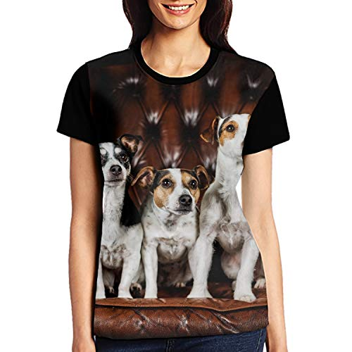 (Jack Russell Terrier Womens Slim Fit Crewneck Short Sleeve Shirts)