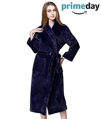 iphonepassteCK Unisex Soft Plush Fleece Robe With Pockets Long Shawl Collar Bath Robe Warm Bathrobes For Women and Men