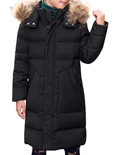 Padded E Overcoat Boy Trim Long Parka Style Puffer with Thick Fur Duck SellerFun Winter Down Mid Black Hooded Jacket p7gTnWqwv