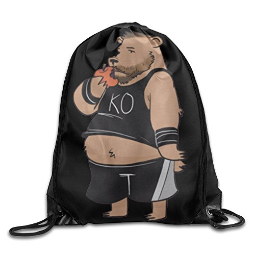 Drawstring Backpack Knock Out Bear Kevin Owens Nylon Home Travel Sport Storage