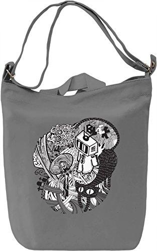 Black cat Borsa Giornaliera Canvas Canvas Day Bag| 100% Premium Cotton Canvas| DTG Printing|