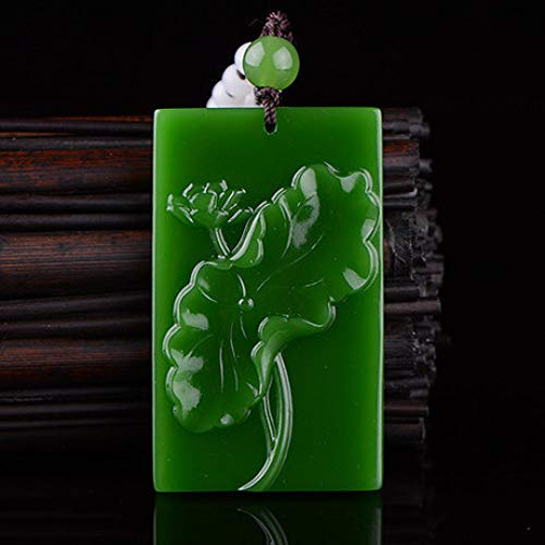Mayanyan Natural Jade Carving Lotus Flower Spinach Green Unisex Necklace Pendant Jade Jewelry