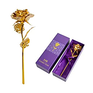 "Enshey 24K Gold Foil Rose Flowers Artificial Rose Flowers in Gift Box with 10"" Long Stem, Best Gift for Mother's Day, Valentine's Day, Wedding Day, Birthday, Christmas, Thanksgiving, Home Decor 110"