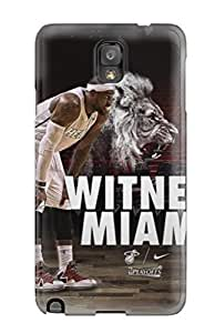 Rugged Skin Case Cover For Galaxy Note 3- Eco-friendly Packaging(sports Nba Basketball Lebron James Miami Heat Basketball Player )