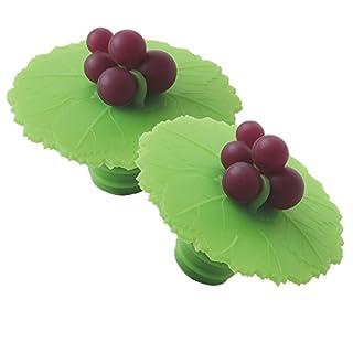 Charles Viancin Grape Leaf Wine Bottle Stopper (Set of 2), Green, 2.3