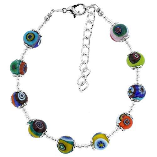 GlassOfVenice Murano Glass Mosaic Bracelet - Silver Multicolor
