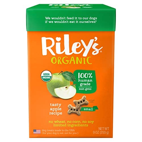 Riley's Organic Dog Treats - Small Bone Tasty Apple Dog Treats - USDA Organic, Certified Vegan and Non GMO Project Verified Dog Biscuits - 100% Human Grade - 9 Oz Carton