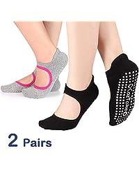 TaiDiKing Calcetines Antideslizantes de algodón para Yoga, Pilates, Ballet, Danza, para Mujeres, Hombres, 2 Unidades (Negro y Gris)