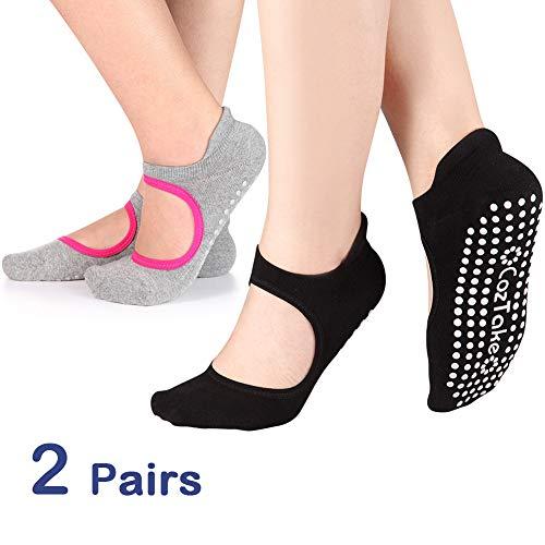 Yoga Socks Non Slip Skid Pilates Ballet Barre with Grips Cotton For Women Men