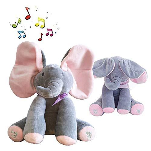 (Peek-a-Boo Elephant Animated Talking Singing Stuffed Plush Doll,Elephant Baby Cute Stuffed Doll Toys for Tollder Kids Boys Girls Gift Present (Pink))