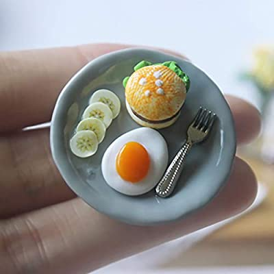 RICH-Po Handwork Design, 1:12 /1:6 Dollhouse Miniature Scene Model Food + Plate Pretend Play Toy: Toys & Games