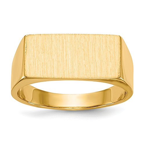 (14k Yellow Gold 8.0x16.5mm Closed Back Mens Signet Band Ring Size 9.00 Man Fine Jewelry Gift For Dad Mens For Him)