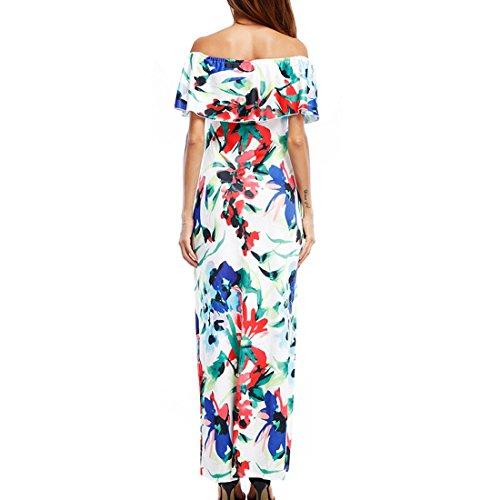 Elegant Retro Bodycon Floral Plus Photo Maxi Color Dress Off Prom Shoulder Size Print Women's Cocktail 5dWUZ1d