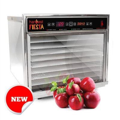 Harvest Fiesta - Eight Tray Digital Stainless Steel Food Dehydrator, USA Made, NSF Certified, Stainless Steel Shelves (Stainless Steel Shelves) ...