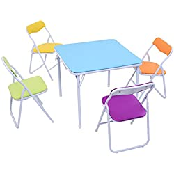 Costzon Kids Table and Chair Set, 5 Piece Colorful Folding Portable Activity Table Set, Steel Lightweight Compact Indoor Set with Bright Color for Toddlers, Girls
